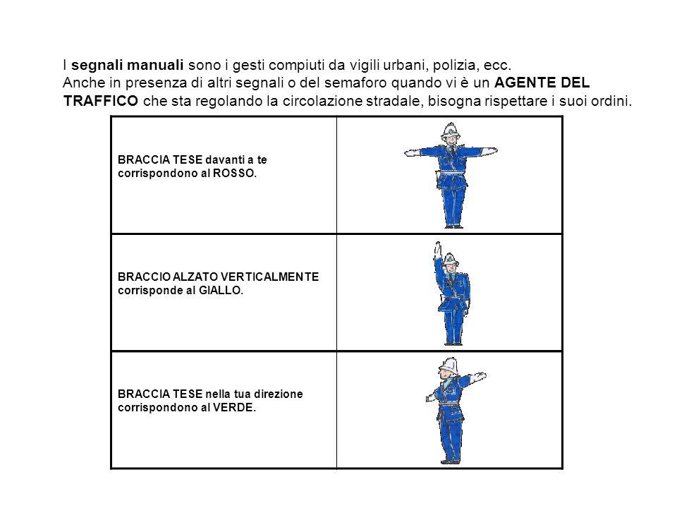 I segnali manuali sono i gesti compiuti da vigili urbani, polizia, ecc. Anche in presenza di altri segnali o del semaforo quando vi è un AGENTE DEL TR
