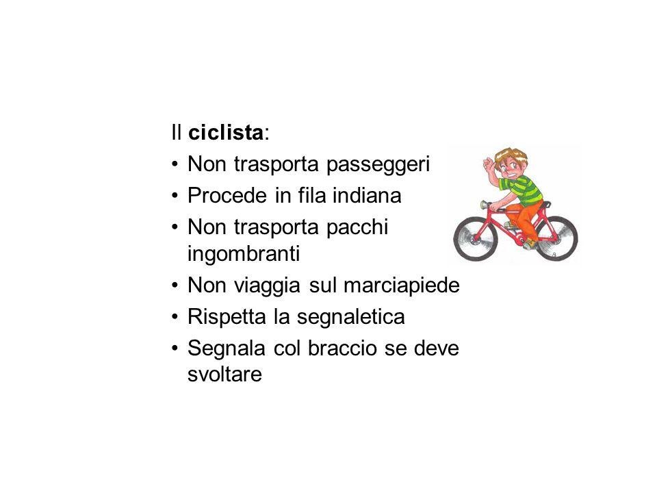 Il ciclista: Non trasporta passeggeri Procede in fila indiana Non trasporta pacchi ingombranti Non viaggia sul marciapiede Rispetta la segnaletica Seg