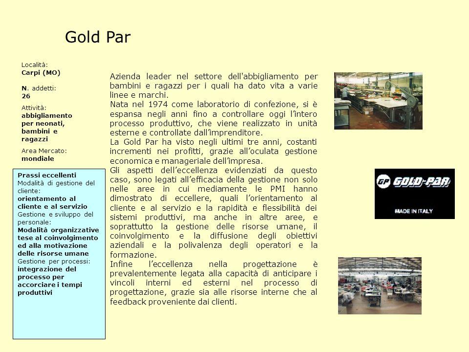 Gold Par Azienda leader nel settore dell'abbigliamento per bambini e ragazzi per i quali ha dato vita a varie linee e marchi. Nata nel 1974 come labor