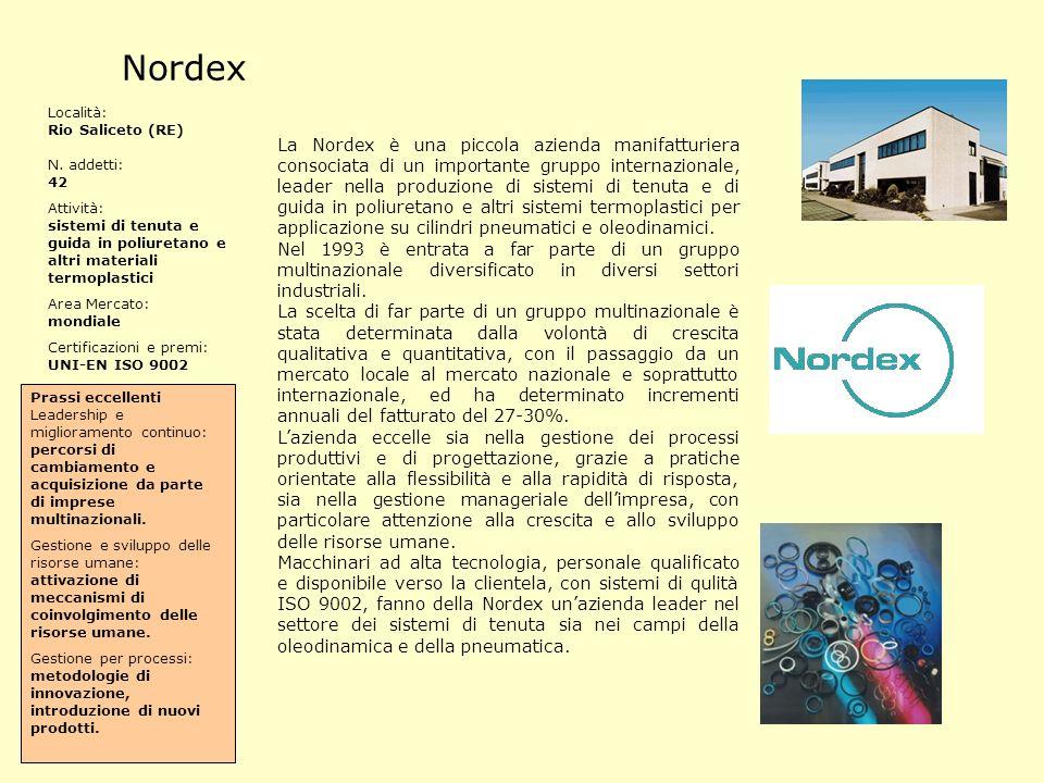La Nordex è una piccola azienda manifatturiera consociata di un importante gruppo internazionale, leader nella produzione di sistemi di tenuta e di gu