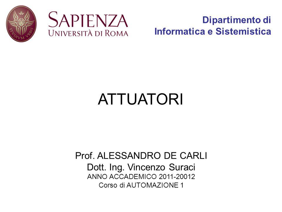 ATTUATORI Prof. ALESSANDRO DE CARLI Dott. Ing. Vincenzo Suraci ANNO ACCADEMICO 2011-20012 Corso di AUTOMAZIONE 1 Dipartimento di Informatica e Sistemi