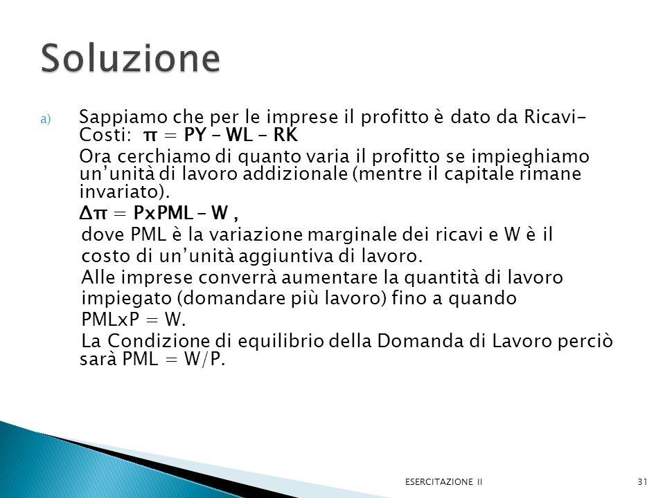 a) Sappiamo che per le imprese il profitto è dato da Ricavi- Costi: π = PY – WL – RK Ora cerchiamo di quanto varia il profitto se impieghiamo ununità di lavoro addizionale (mentre il capitale rimane invariato).