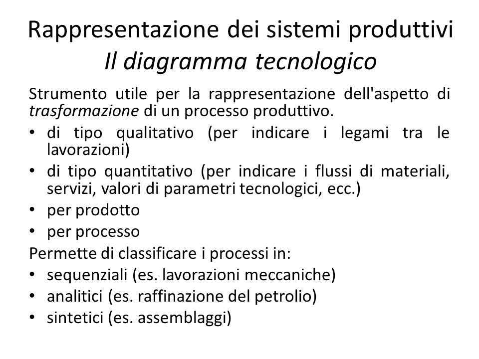 Rappresentazione dei sistemi produttivi Il diagramma tecnologico Strumento utile per la rappresentazione dell'aspetto di trasformazione di un processo