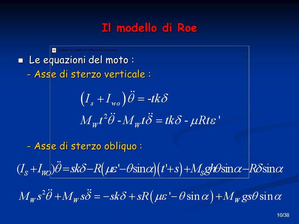 10/38 Il modello di Roe Le equazioni del moto : Le equazioni del moto : - Asse di sterzo verticale : - Asse di sterzo verticale : - Asse di sterzo obliquo : - Asse di sterzo obliquo :