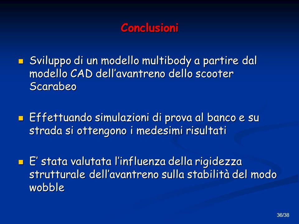36/38 Conclusioni Sviluppo di un modello multibody a partire dal modello CAD dellavantreno dello scooter Scarabeo Sviluppo di un modello multibody a partire dal modello CAD dellavantreno dello scooter Scarabeo Effettuando simulazioni di prova al banco e su strada si ottengono i medesimi risultati Effettuando simulazioni di prova al banco e su strada si ottengono i medesimi risultati E stata valutata linfluenza della rigidezza strutturale dellavantreno sulla stabilità del modo wobble E stata valutata linfluenza della rigidezza strutturale dellavantreno sulla stabilità del modo wobble