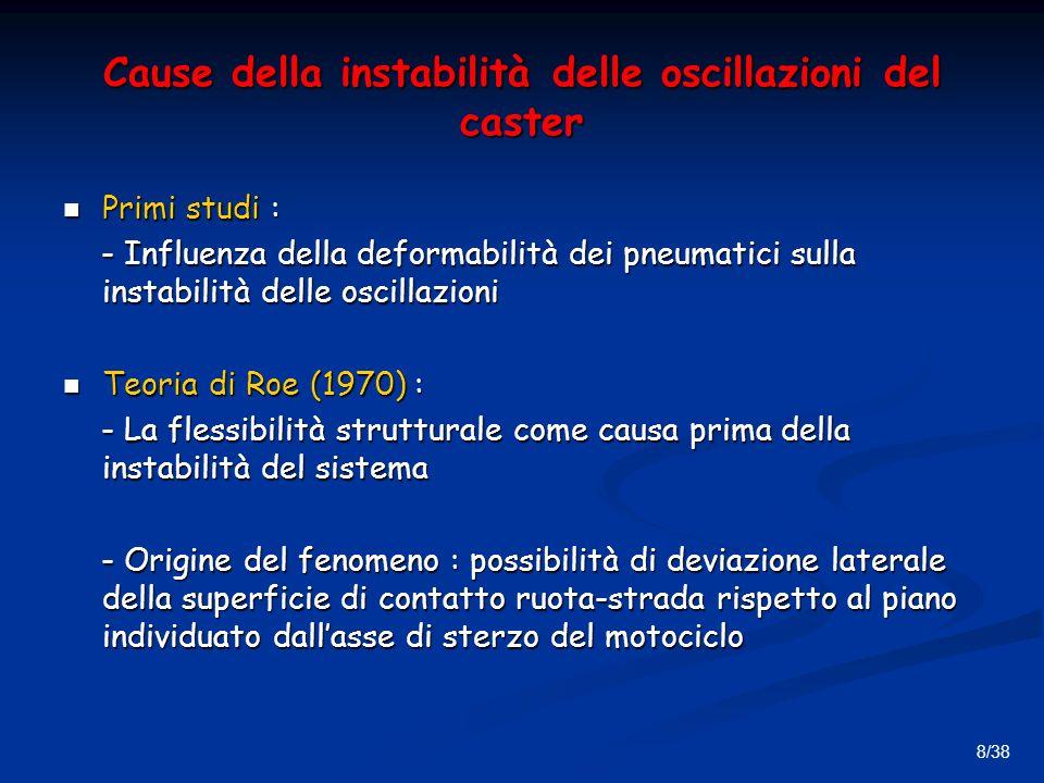 8/38 Cause della instabilità delle oscillazioni del caster Primi studi : Primi studi : - Influenza della deformabilità dei pneumatici sulla instabilità delle oscillazioni - Influenza della deformabilità dei pneumatici sulla instabilità delle oscillazioni Teoria di Roe (1970) : Teoria di Roe (1970) : - La flessibilità strutturale come causa prima della instabilità del sistema - La flessibilità strutturale come causa prima della instabilità del sistema - Origine del fenomeno : possibilità di deviazione laterale della superficie di contatto ruota-strada rispetto al piano individuato dallasse di sterzo del motociclo - Origine del fenomeno : possibilità di deviazione laterale della superficie di contatto ruota-strada rispetto al piano individuato dallasse di sterzo del motociclo