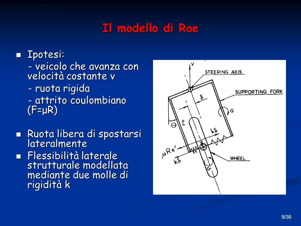 9/38 Il modello di Roe Ipotesi: Ipotesi: - veicolo che avanza con velocità costante v - veicolo che avanza con velocità costante v - ruota rigida - ruota rigida - attrito coulombiano (F=μR) - attrito coulombiano (F=μR) Ruota libera di spostarsi lateralmente Ruota libera di spostarsi lateralmente Flessibilità laterale strutturale modellata mediante due molle di rigidità k Flessibilità laterale strutturale modellata mediante due molle di rigidità k