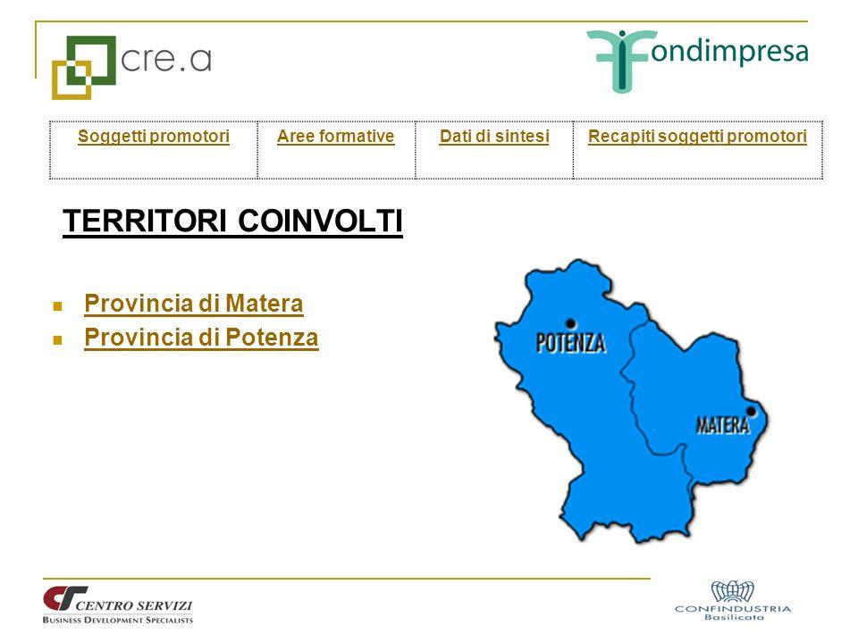 TERRITORI COINVOLTI Provincia di Matera Provincia di Potenza Soggetti promotoriAree formativeDati di sintesiRecapiti soggetti promotori