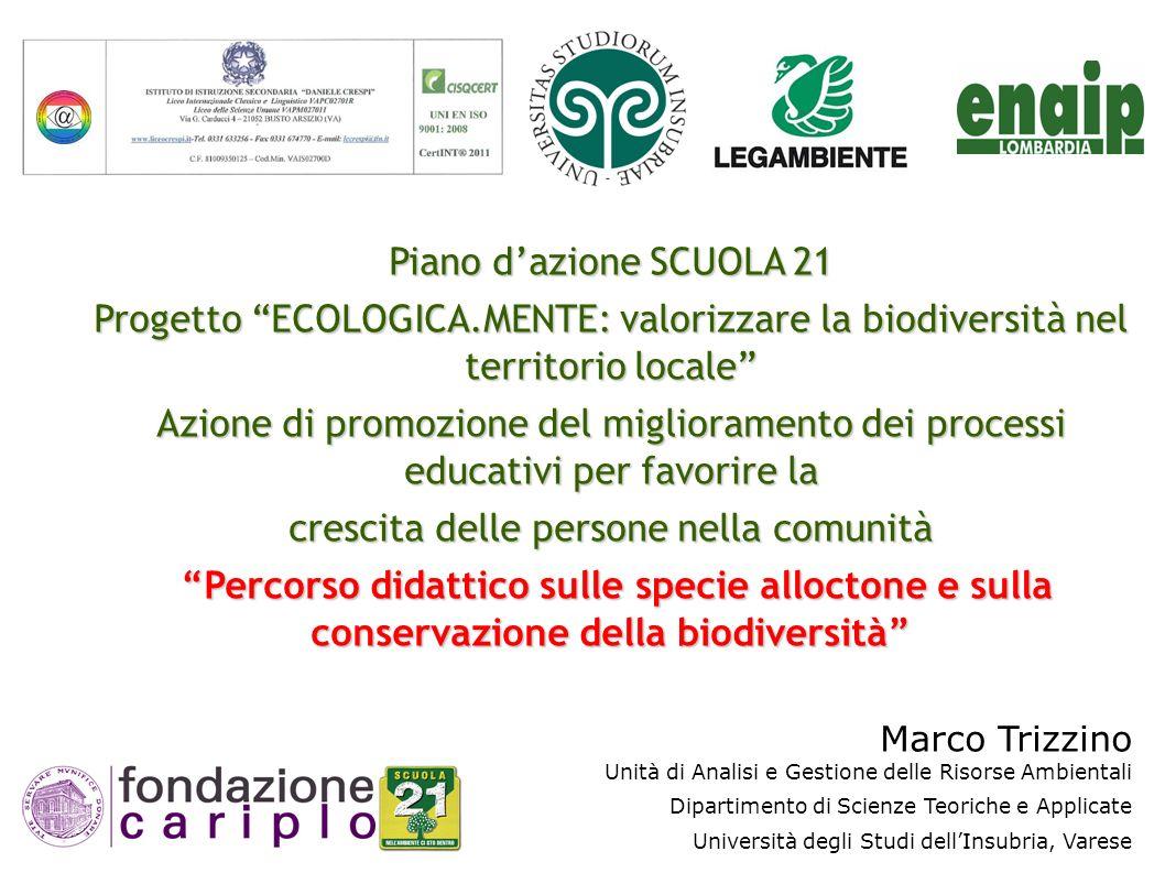 Piano dazione SCUOLA 21 Progetto ECOLOGICA.MENTE: valorizzare la biodiversità nel territorio locale Azione di promozione del miglioramento dei process