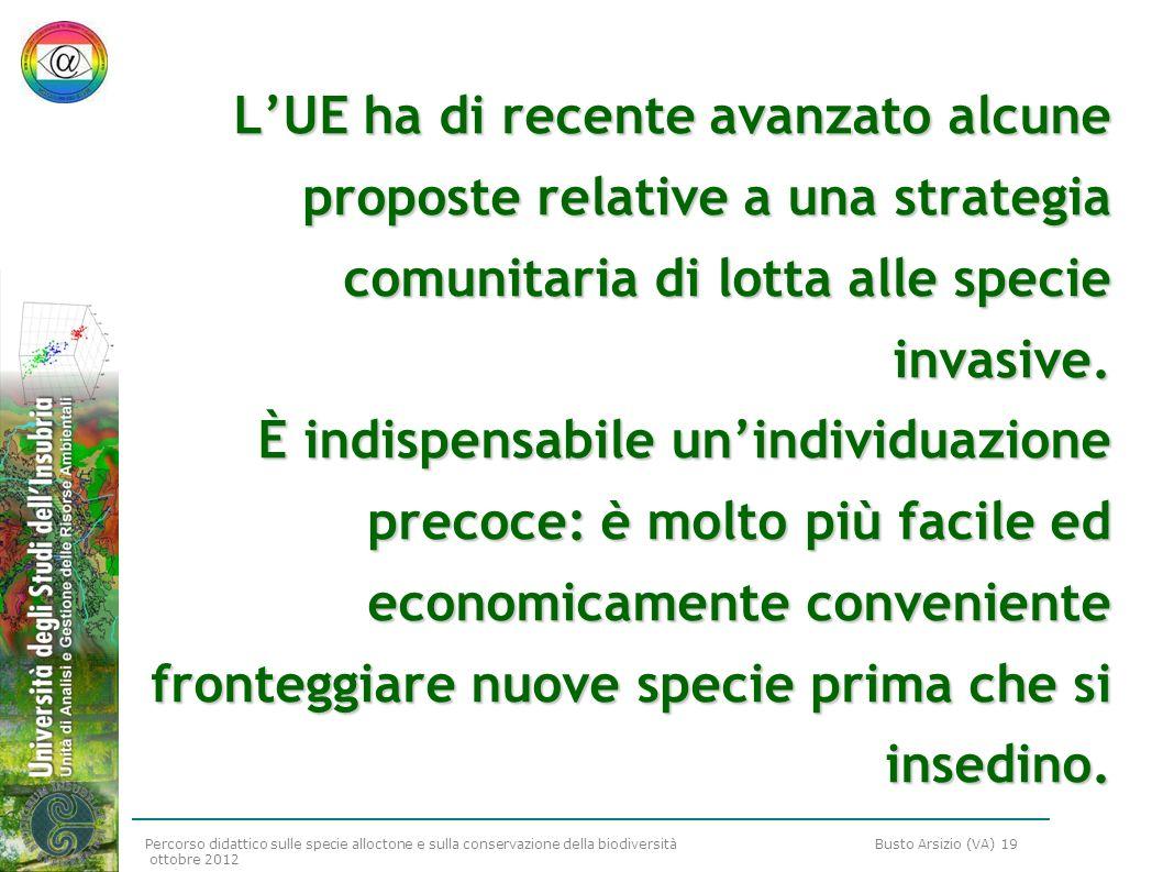 Percorso didattico sulle specie alloctone e sulla conservazione della biodiversità Busto Arsizio (VA) 19 ottobre 2012 LUE ha di recente avanzato alcun