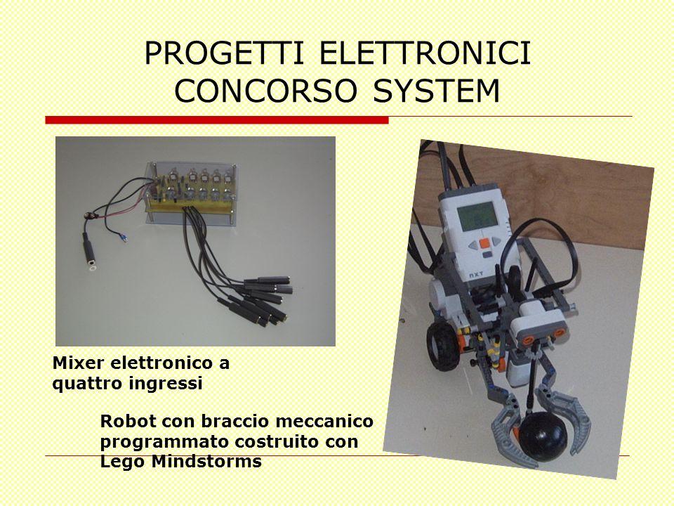 PROGETTI ELETTRONICI CONCORSO SYSTEM Mixer elettronico a quattro ingressi Robot con braccio meccanico programmato costruito con Lego Mindstorms
