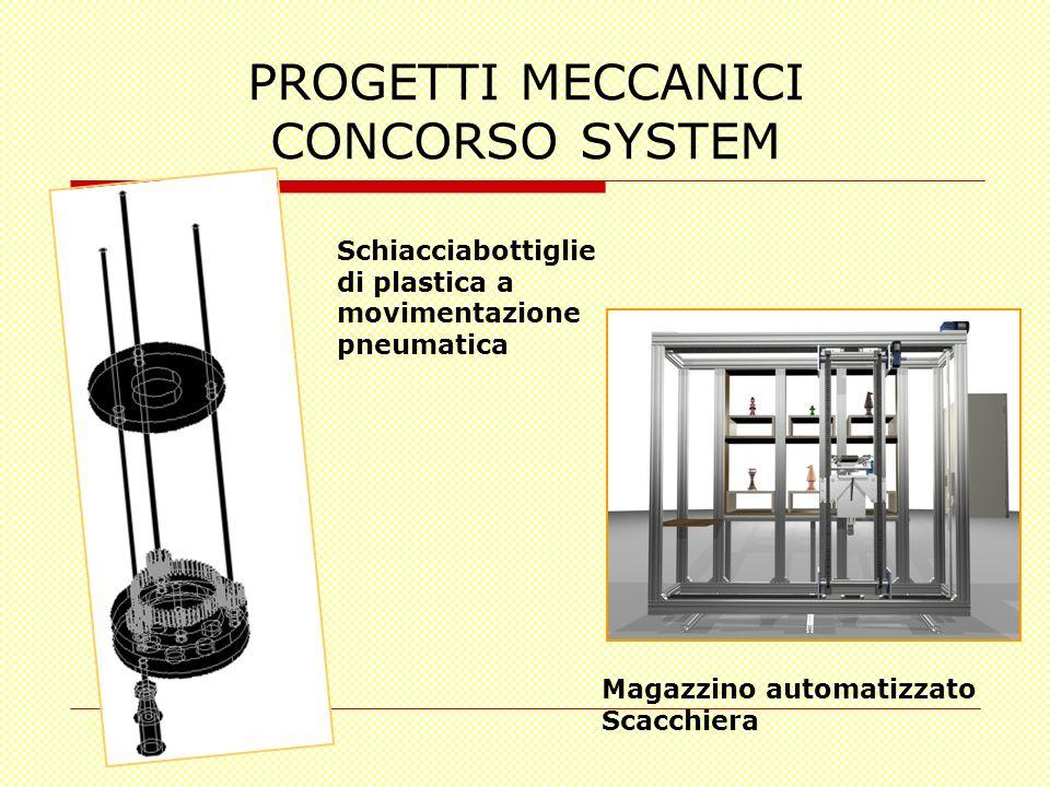 PROGETTI MECCANICI CONCORSO SYSTEM Schiacciabottiglie di plastica a movimentazione pneumatica Magazzino automatizzato Scacchiera