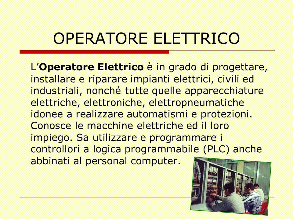 OPERATORE ELETTRICO LOperatore Elettrico è in grado di progettare, installare e riparare impianti elettrici, civili ed industriali, nonché tutte quell