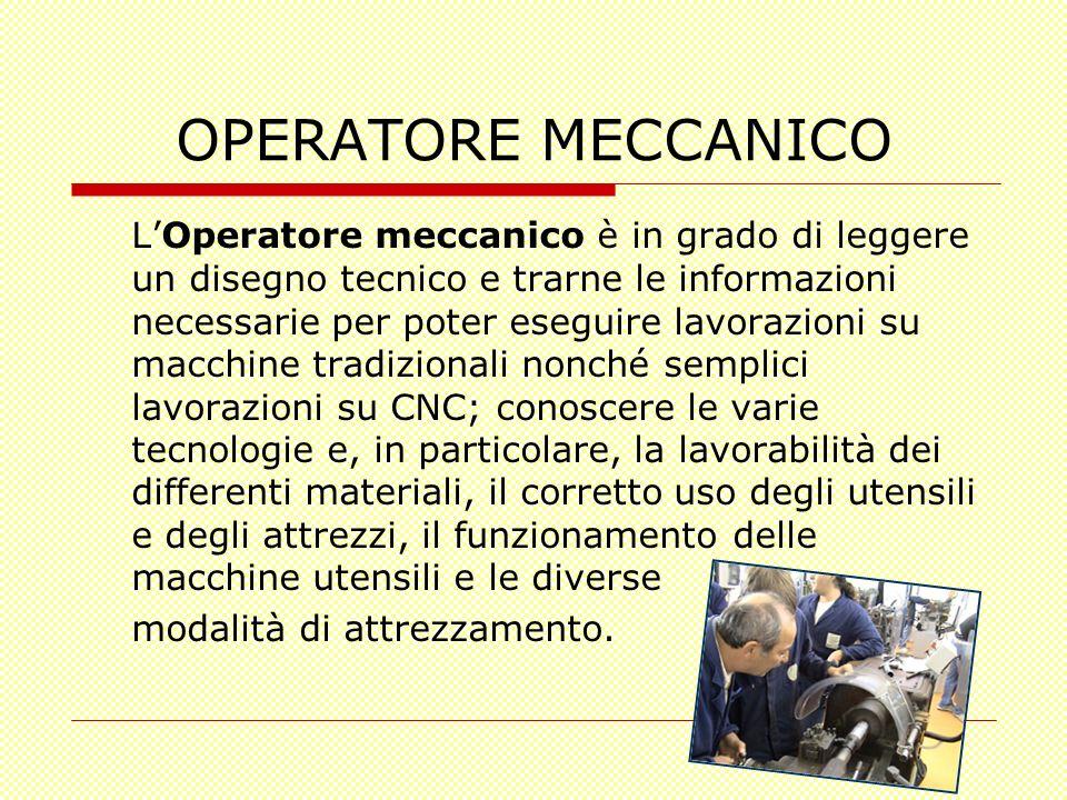 OPERATORE MECCANICO LOperatore meccanico è in grado di leggere un disegno tecnico e trarne le informazioni necessarie per poter eseguire lavorazioni s