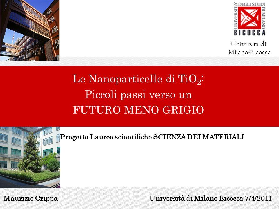 Le Nanoparticelle di TiO 2 : Piccoli passi verso un FUTURO MENO GRIGIO Università di Milano-Bicocca Maurizio Crippa Progetto Lauree scientifiche SCIEN