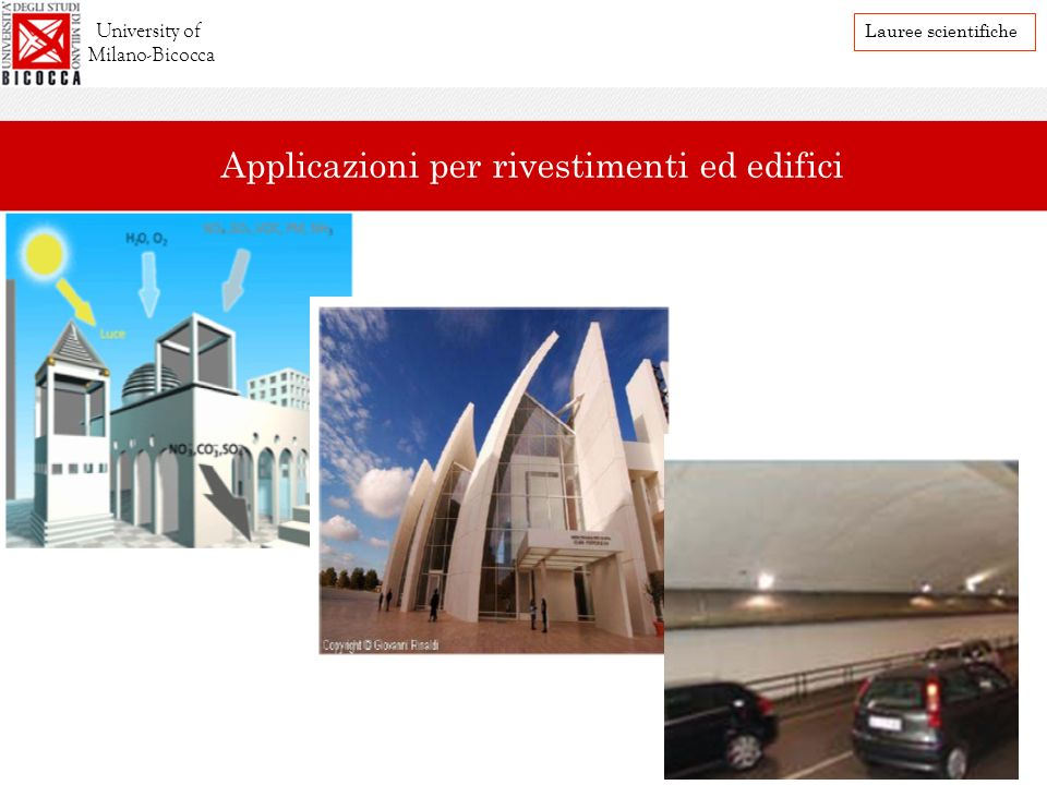 University of Milano-Bicocca Lauree scientifiche Applicazioni per rivestimenti ed edifici