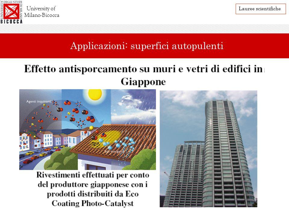 University of Milano-Bicocca Lauree scientifiche Applicazioni: superfici autopulenti