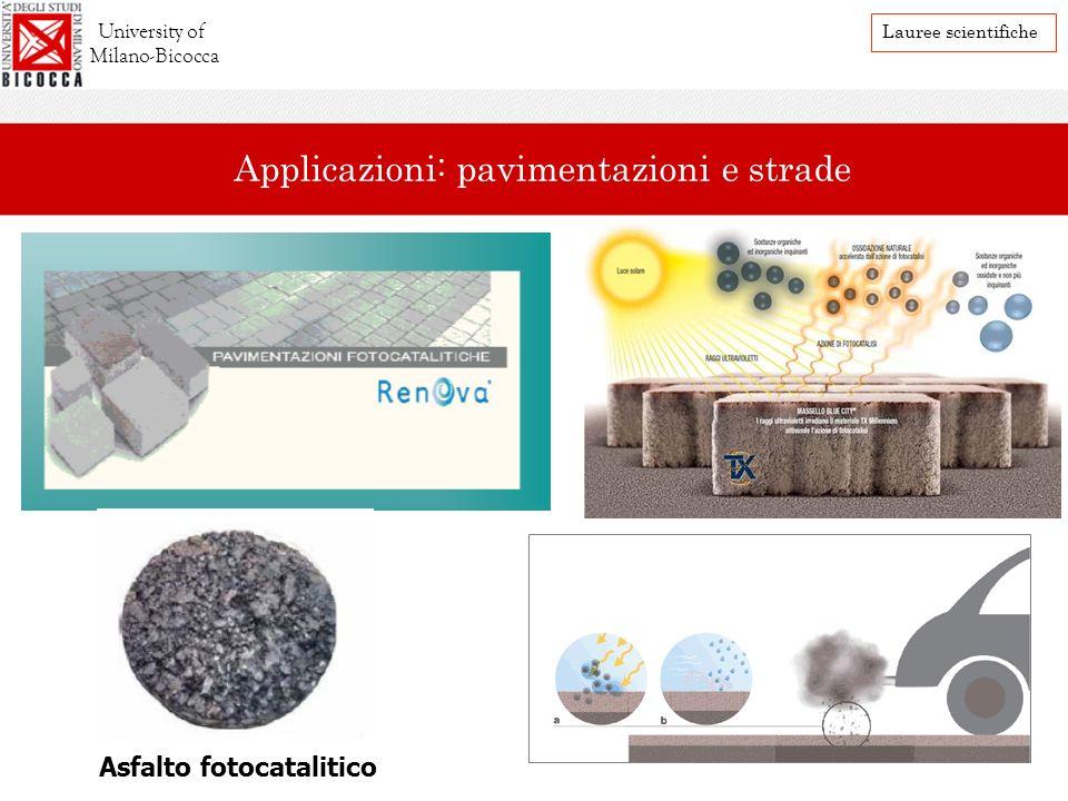 Asfalto fotocatalitico University of Milano-Bicocca Lauree scientifiche Applicazioni: pavimentazioni e strade