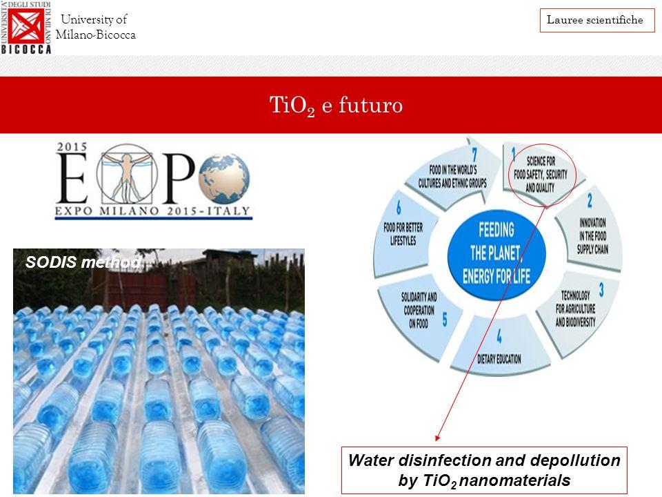 Water disinfection and depollution by TiO 2 nanomaterials SODIS method Future perspectives University of Milano-Bicocca Lauree scientifiche TiO 2 e fu