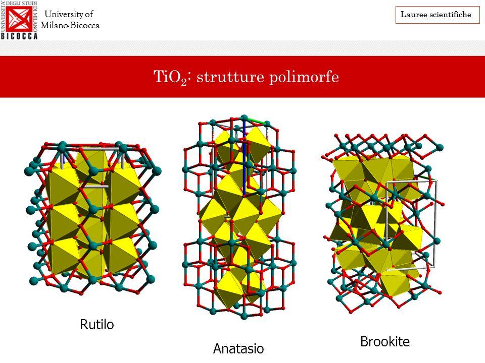 Rutilo Anatasio Brookite University of Milano-Bicocca Lauree scientifiche TiO 2 : strutture polimorfe University of Milano-Bicocca Lauree scientifiche