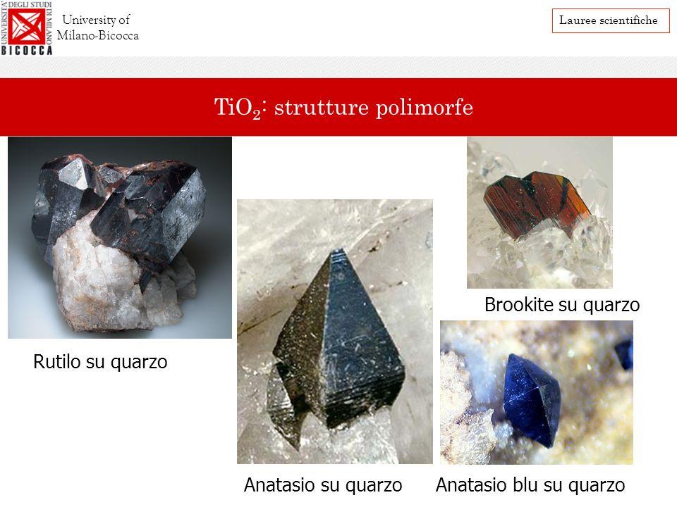 Rutilo su quarzo Anatasio su quarzoAnatasio blu su quarzo Brookite su quarzo University of Milano-Bicocca Lauree scientifiche TiO 2 : strutture polimo