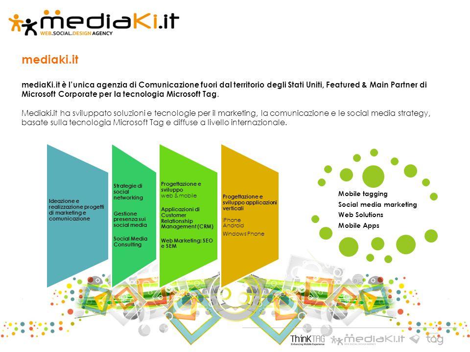 mediaki.it mediaKi.it è lunica agenzia di Comunicazione fuori dal territorio degli Stati Uniti, Featured & Main Partner di Microsoft Corporate per la tecnologia Microsoft Tag.