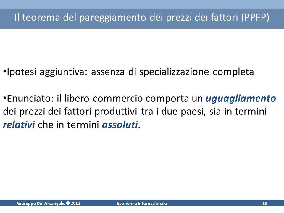 Giuseppe De Arcangelis © 2012Economia Internazionale10 Il teorema del pareggiamento dei prezzi dei fattori (PPFP) Ipotesi aggiuntiva: assenza di speci