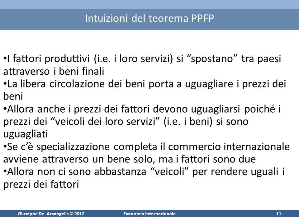 Giuseppe De Arcangelis © 2012Economia Internazionale11 Intuizioni del teorema PPFP I fattori produttivi (i.e. i loro servizi) si spostano tra paesi at