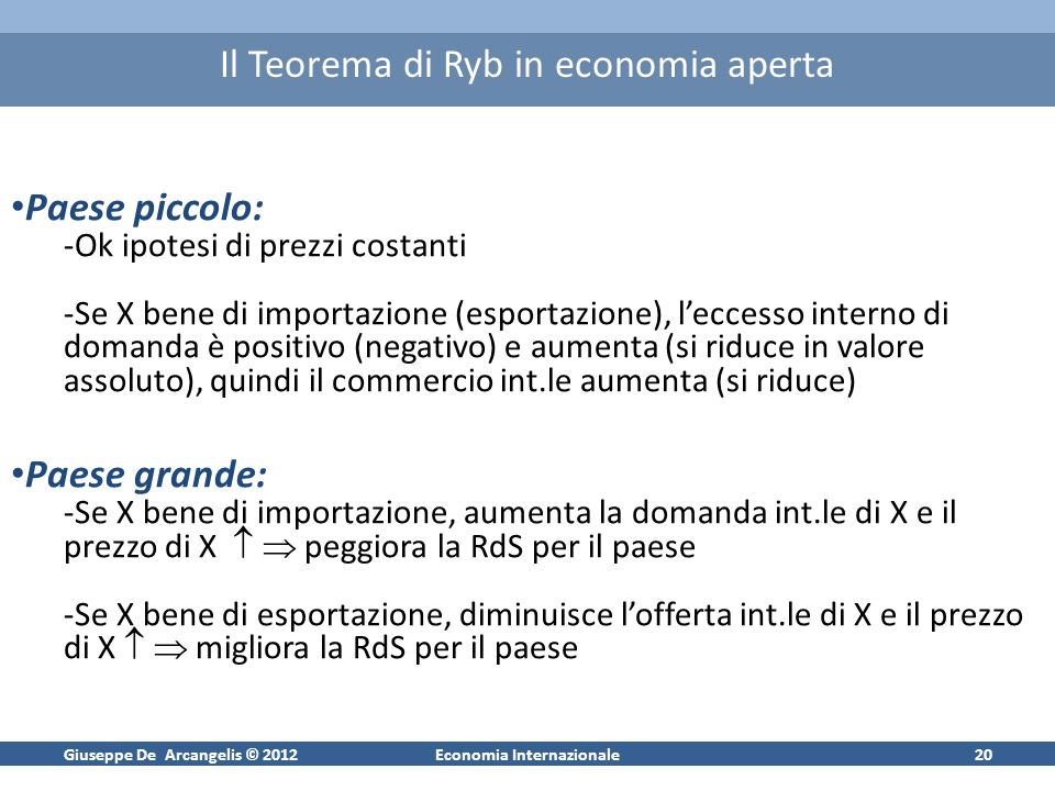Giuseppe De Arcangelis © 2012Economia Internazionale20 Il Teorema di Ryb in economia aperta Paese piccolo: -Ok ipotesi di prezzi costanti -Se X bene d
