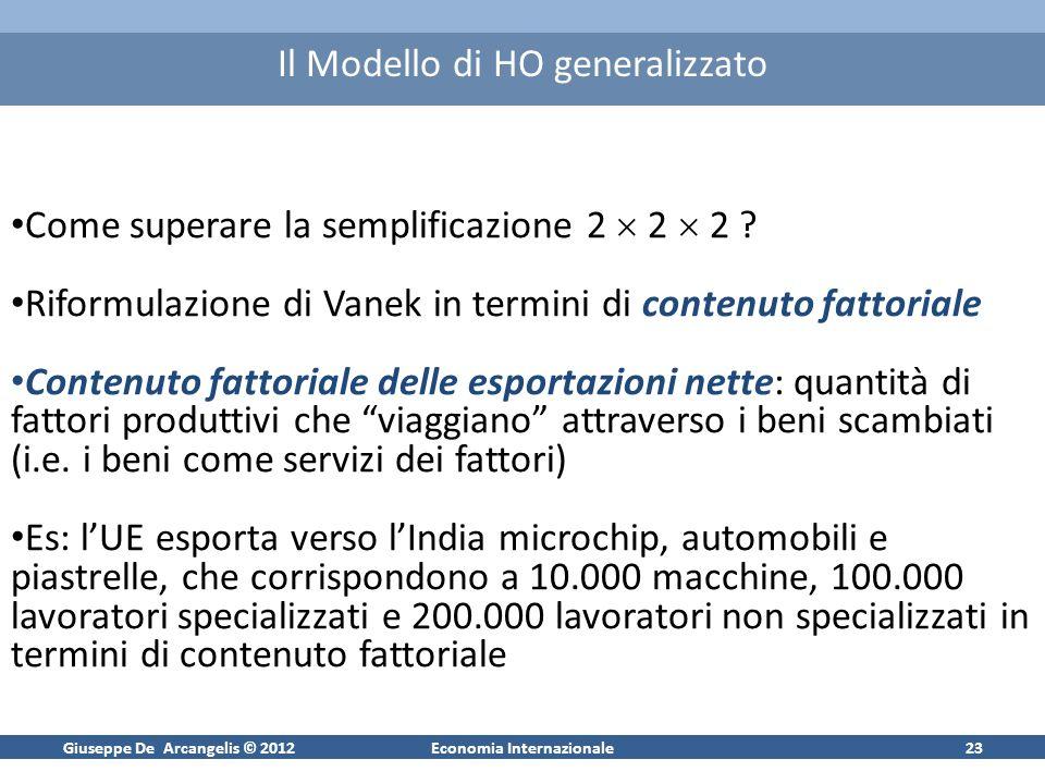 Giuseppe De Arcangelis © 2012Economia Internazionale23 Il Modello di HO generalizzato Come superare la semplificazione 2 2 2 ? Riformulazione di Vanek
