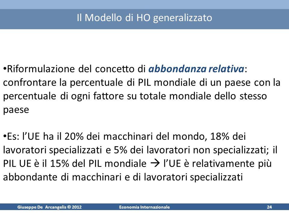 Giuseppe De Arcangelis © 2012Economia Internazionale24 Il Modello di HO generalizzato Riformulazione del concetto di abbondanza relativa: confrontare