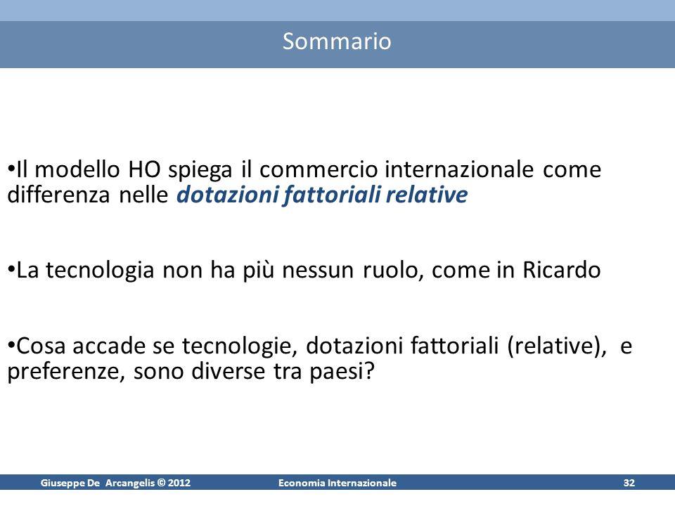 Giuseppe De Arcangelis © 2012Economia Internazionale32 Sommario Il modello HO spiega il commercio internazionale come differenza nelle dotazioni fatto