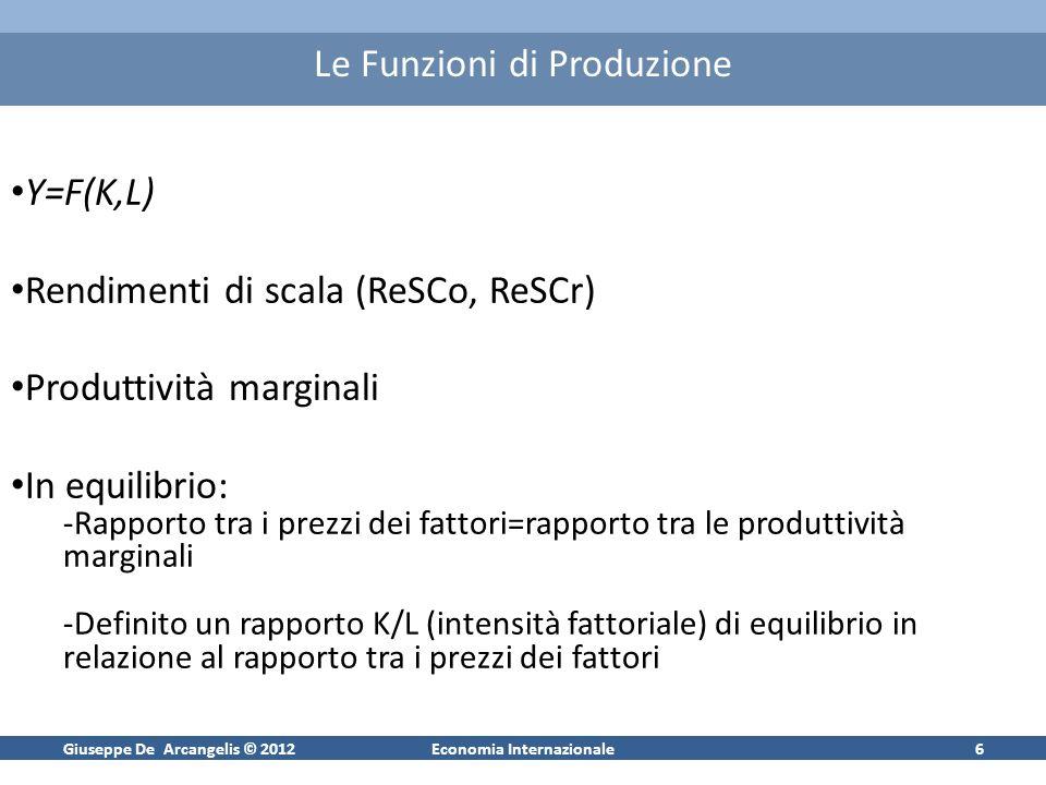 Giuseppe De Arcangelis © 2012Economia Internazionale6 Le Funzioni di Produzione Y=F(K,L) Rendimenti di scala (ReSCo, ReSCr) Produttività marginali In