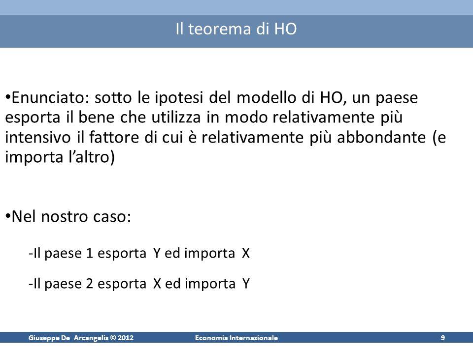 Giuseppe De Arcangelis © 2012Economia Internazionale9 Il teorema di HO Enunciato: sotto le ipotesi del modello di HO, un paese esporta il bene che uti