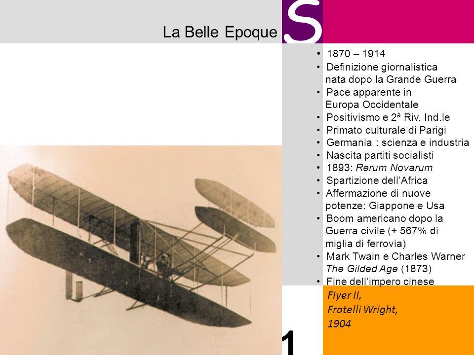 La Belle Epoque S Flyer II, Fratelli Wright, 1904 1 1870 – 1914 Definizione giornalistica nata dopo la Grande Guerra Pace apparente in Europa Occident