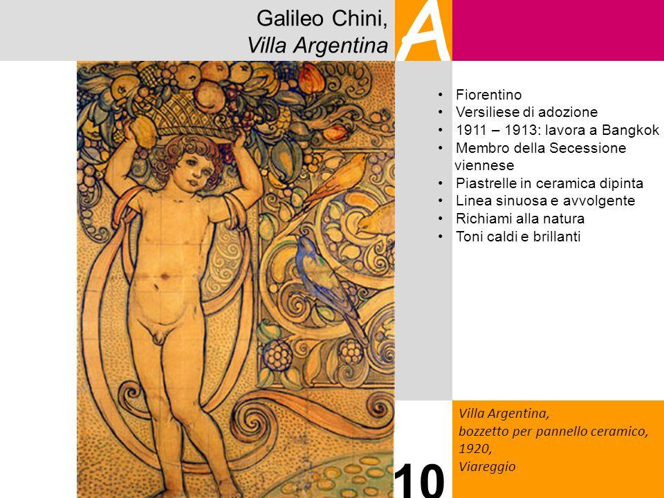 Galileo Chini, Villa Argentina A Villa Argentina, bozzetto per pannello ceramico, 1920, Viareggio 10 Fiorentino Versiliese di adozione 1911 – 1913: la
