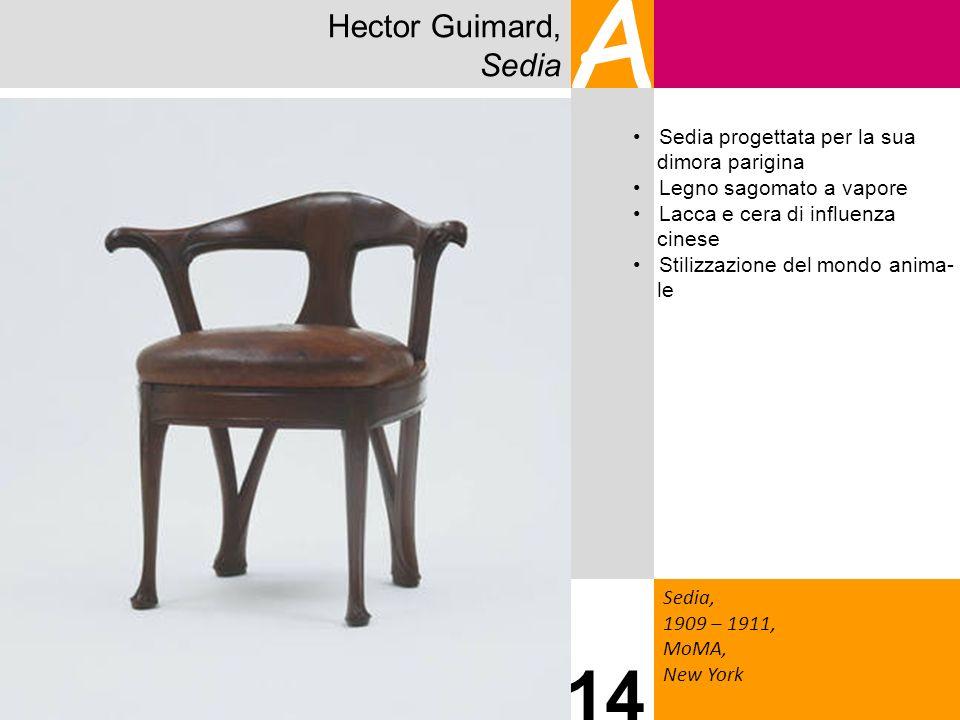 Hector Guimard, Sedia A Sedia, 1909 – 1911, MoMA, New York 14 Sedia progettata per la sua dimora parigina Legno sagomato a vapore Lacca e cera di infl