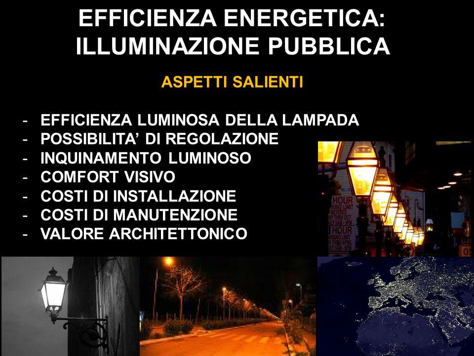 EFFICIENZA ENERGETICA: ILLUMINAZIONE PUBBLICA ASPETTI SALIENTI -EFFICIENZA LUMINOSA DELLA LAMPADA -POSSIBILITA DI REGOLAZIONE -INQUINAMENTO LUMINOSO -