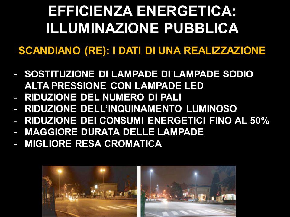 EFFICIENZA ENERGETICA: ILLUMINAZIONE PUBBLICA SCANDIANO (RE): I DATI DI UNA REALIZZAZIONE -SOSTITUZIONE DI LAMPADE DI LAMPADE SODIO ALTA PRESSIONE CON