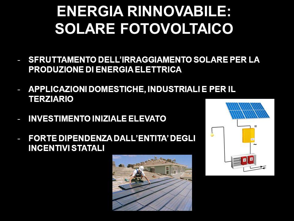 ENERGIA RINNOVABILE: SOLARE FOTOVOLTAICO -SFRUTTAMENTO DELLIRRAGGIAMENTO SOLARE PER LA PRODUZIONE DI ENERGIA ELETTRICA -APPLICAZIONI DOMESTICHE, INDUS