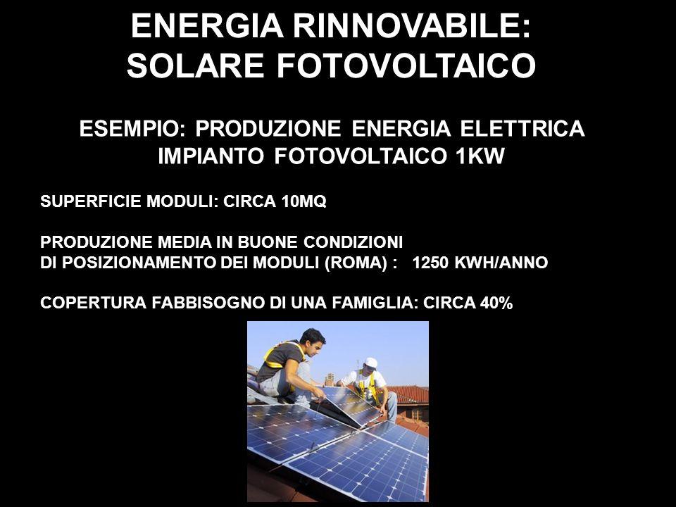 ENERGIA RINNOVABILE: SOLARE FOTOVOLTAICO ESEMPIO: PRODUZIONE ENERGIA ELETTRICA IMPIANTO FOTOVOLTAICO 1KW SUPERFICIE MODULI: CIRCA 10MQ PRODUZIONE MEDI