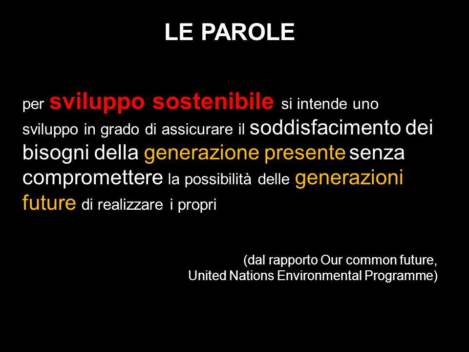 LE PAROLE per sviluppo sostenibile si intende uno sviluppo in grado di assicurare il soddisfacimento dei bisogni della generazione presente senza comp