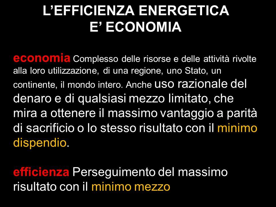 LEFFICIENZA ENERGETICA E ECONOMIA economia Complesso delle risorse e delle attività rivolte alla loro utilizzazione, di una regione, uno Stato, un con