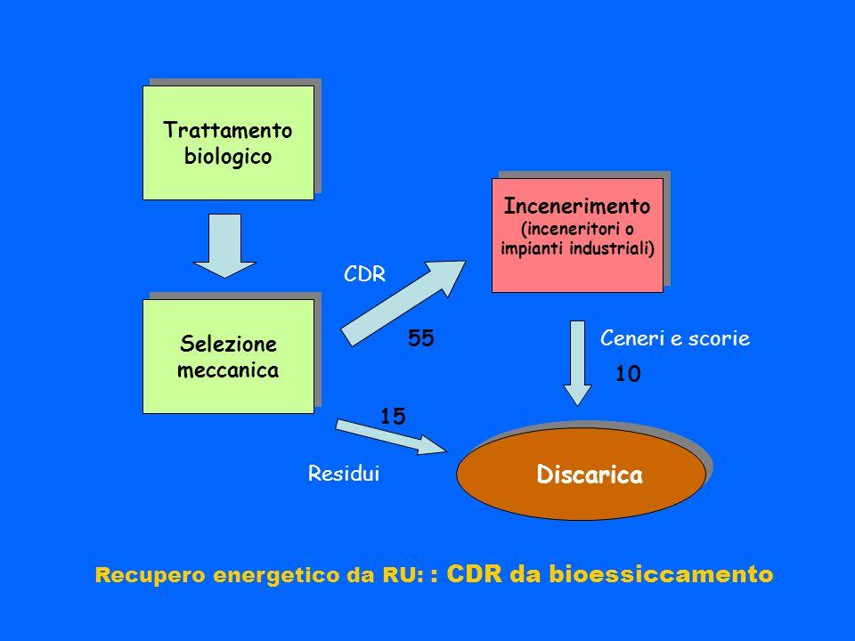 Incenerimento (inceneritori o impianti industriali) Incenerimento (inceneritori o impianti industriali) Trattamento biologico Trattamento biologico Se