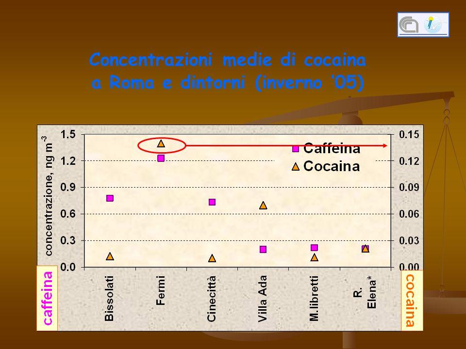 Concentrazioni medie di cocaina a Roma e dintorni (inverno 05)
