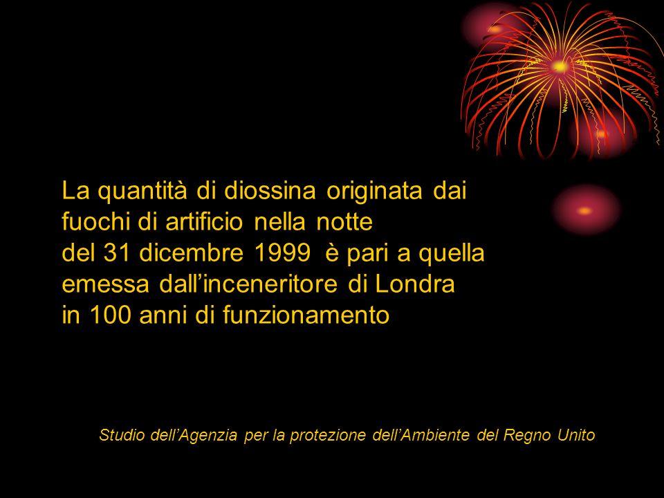 La quantità di diossina originata dai fuochi di artificio nella notte del 31 dicembre 1999 è pari a quella emessa dallinceneritore di Londra in 100 an