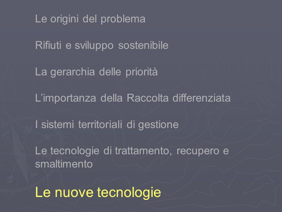 Le origini del problema Rifiuti e sviluppo sostenibile La gerarchia delle priorità Limportanza della Raccolta differenziata I sistemi territoriali di