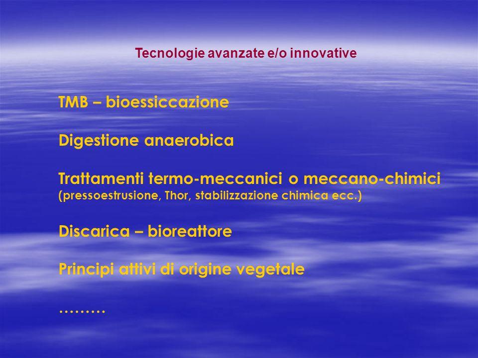 Tecnologie avanzate e/o innovative TMB – bioessiccazione Digestione anaerobica Trattamenti termo-meccanici o meccano-chimici (pressoestrusione, Thor,