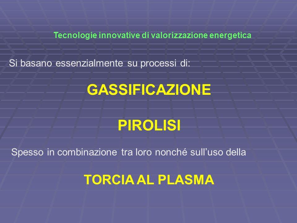 Tecnologie innovative di valorizzazione energetica Si basano essenzialmente su processi di: GASSIFICAZIONE PIROLISI Spesso in combinazione tra loro no