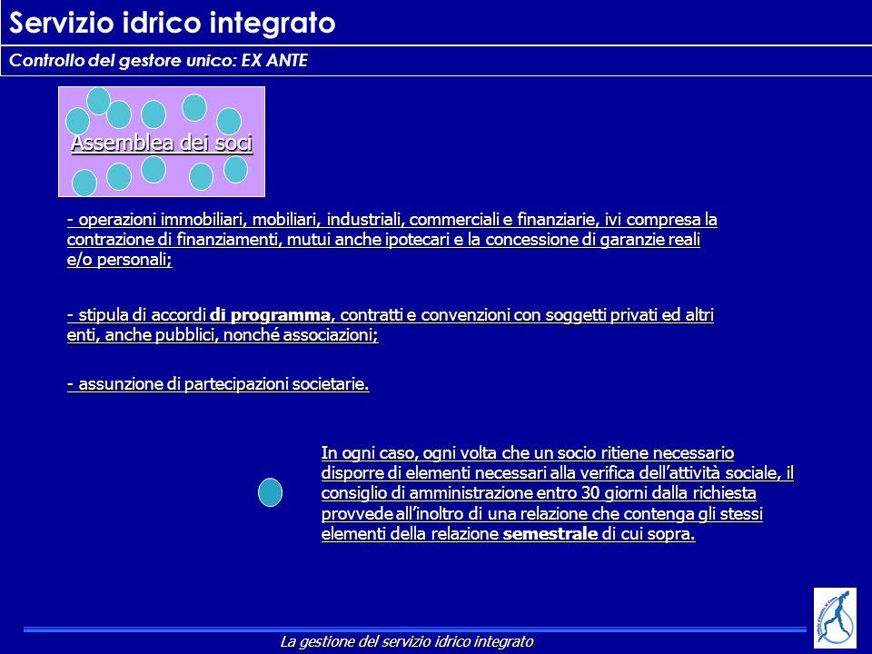 Servizio idrico integrato Controllo del gestore unico: EX ANTE In ogni caso, ogni volta che un socio ritiene necessario disporre di elementi necessari